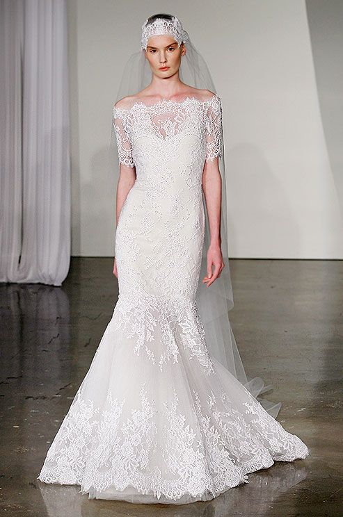Lace off-the-shoulder wedding dress from Marchesa, Fall 2013
