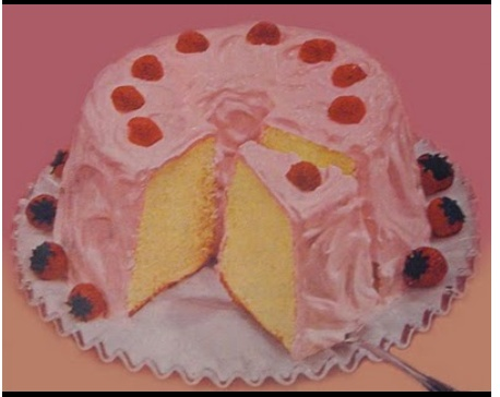 special occasion angel food cake with pink icing