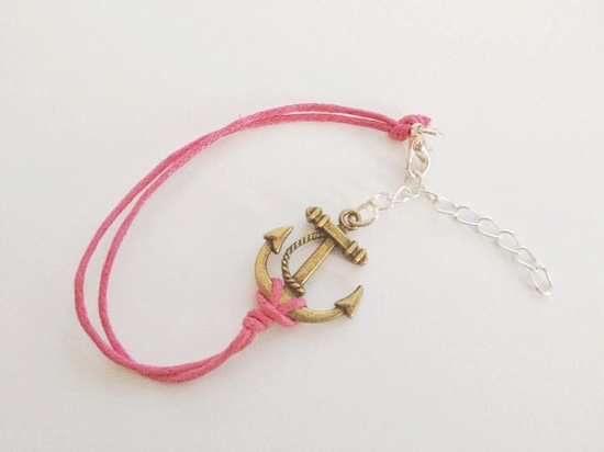 PINK anchor and rope bracelet by TheBoutiqueOfDreams on Etsy, £8.00