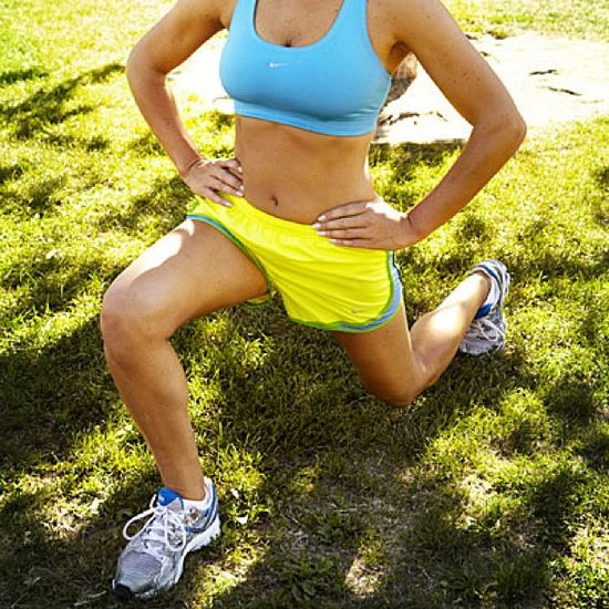 Pump up your walk and burn up with 350 calories in 45 minutes! Start by adding intervals of lunges to help tone your legs, butt, and calves.