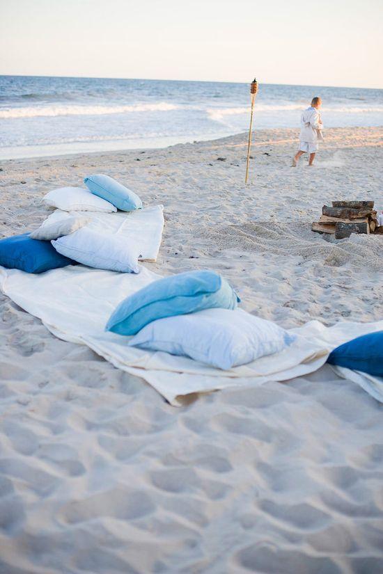 Beach blanket lounge area