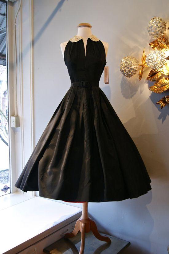 50s Party Dress // Vintage 1950s Black Taffeta by xtabayvintage, $348.00