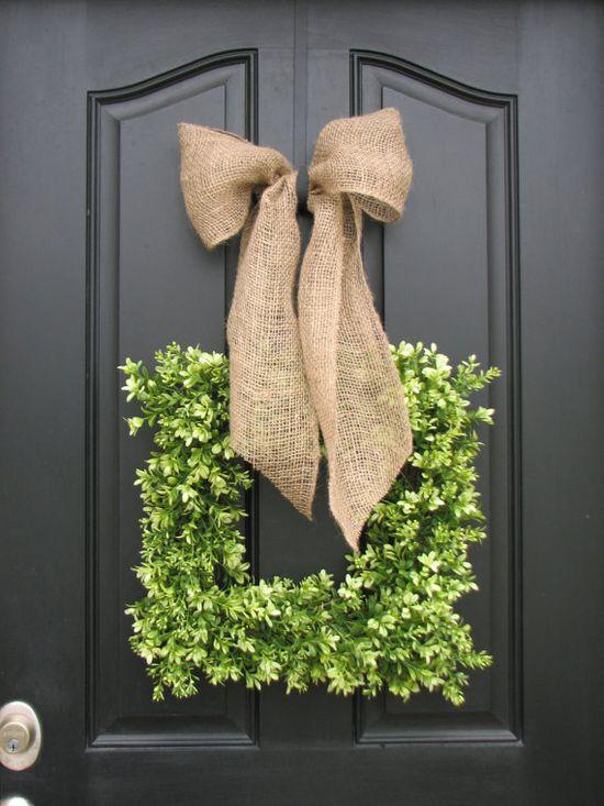 wreath + burlap bow......so pretty.  Love this look.