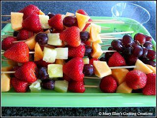 Fresh Fruit Skewers with Sweet Cream Dip