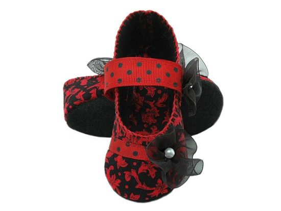 Isabella baby girl shoe in red and black