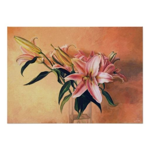Classic Flower Arrangement #lilies #flowers #painting #print #poster
