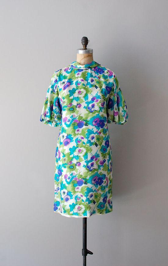 1960s Painterly Poppies silk dress