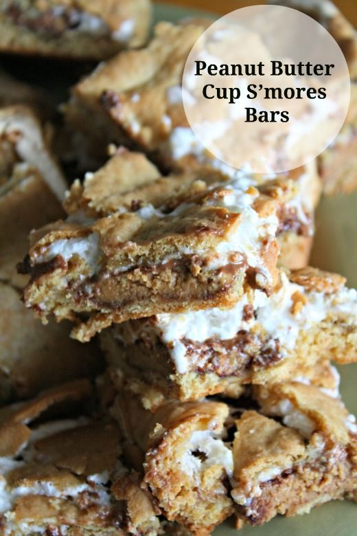 peanut butter cup s'mores bars - recipe