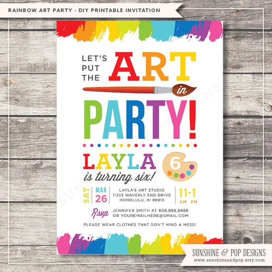 Art Party or Paint Party Invitation from SunshineandPop on Etsy. Great kids birthday party idea.  www.sunshineandpo...