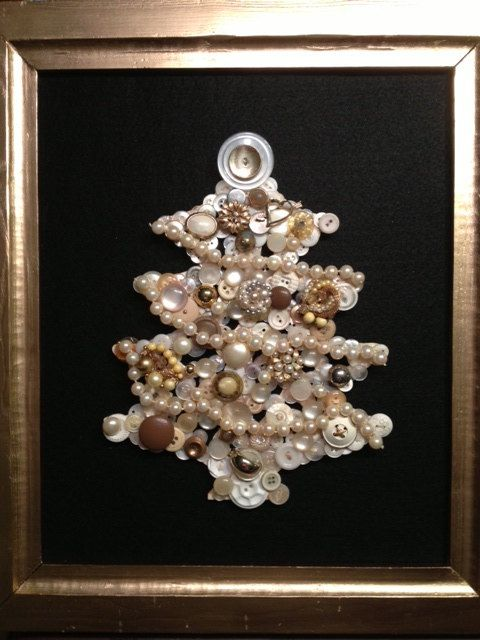 One of a kind Christmas tree made from vintage buttons, beads and jewelry on Etsy, $85.00