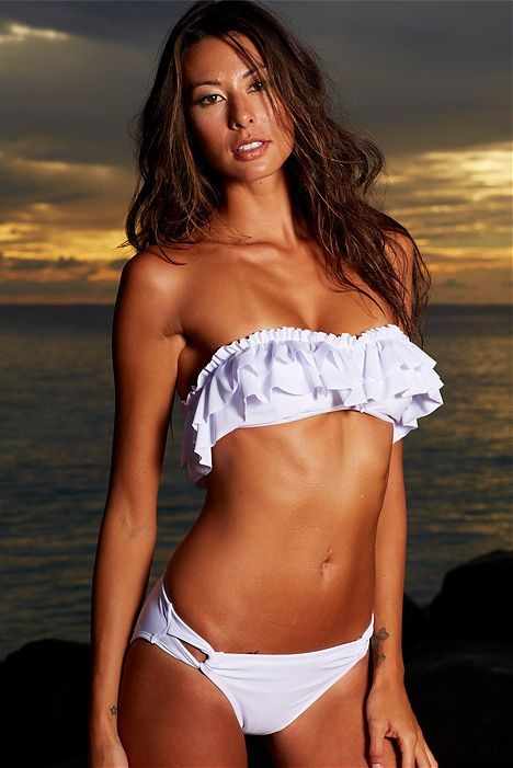 White Ruffle Bikini