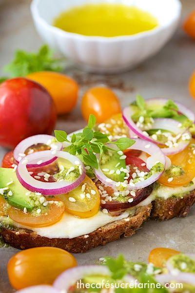 Tomato, Avocado & Fresh Mozzarella Tartines by thecafesucrefarine #Appetizer #Tomato #Avocado #Mozzarella