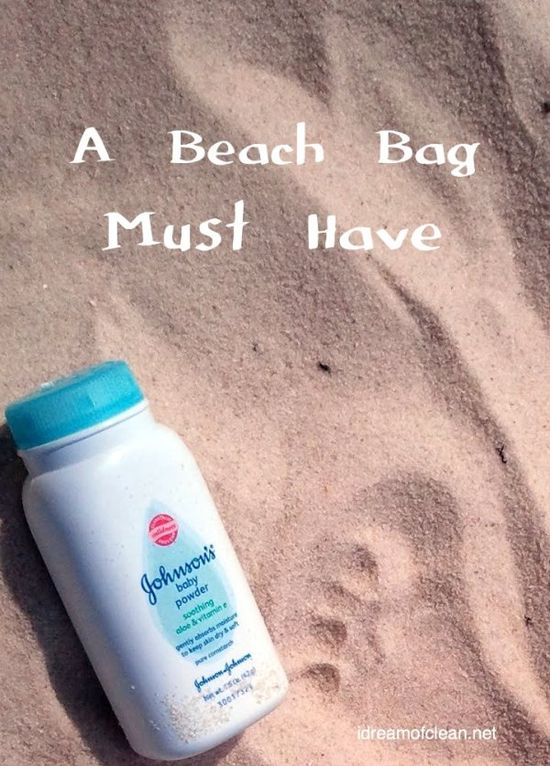 """Like to snack at the beach? Easily remove sand from your hands by """"washing"""" them with baby powder! This works great for cleaning kids up after playing in the sand box as well!"""