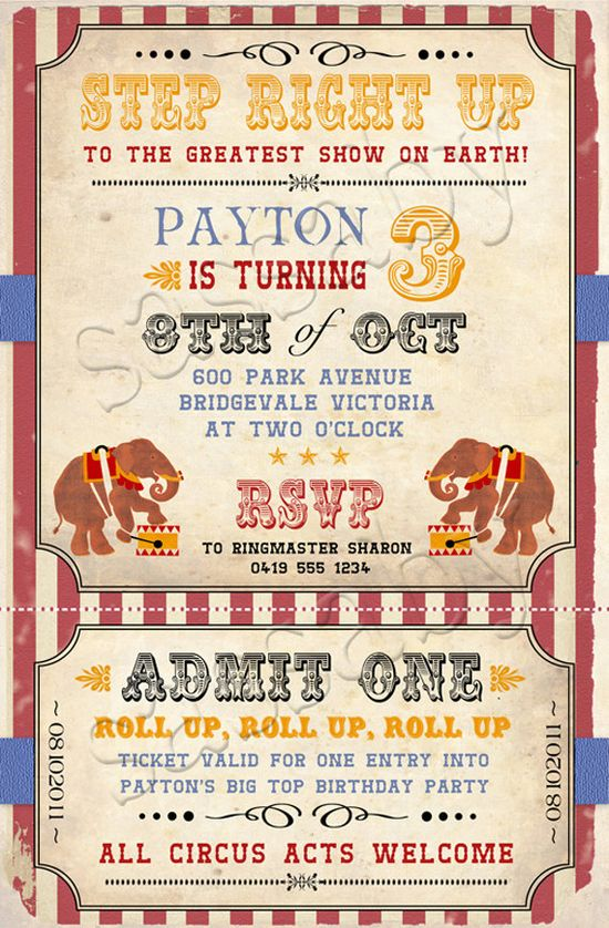 DIY printable birthday invite pdf    i want to do a circus party for one of the kids one day!!