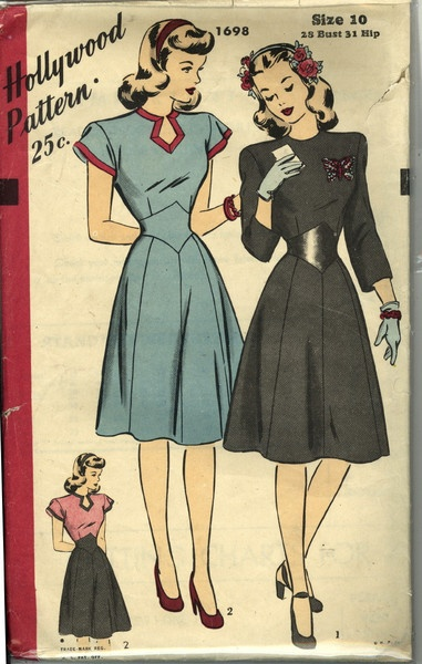 """I don't think Hollywood Patterns ever put out a pattern that wasn't absolutely gorgeous.  Here a keyhole neckline and """"v"""" belted waist make a gorgeous 1940s day dress."""