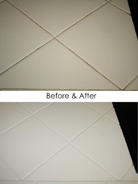 clean grout lines with Clorox bleach pen, let sit for 20 mins., wipe away with damp cloth