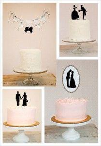 Unique silhouette wedding cake topper