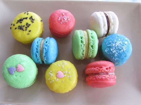 A marvelously inviting selection of Lemon, Passion Fruit, Coffee, Strawberry and Dark Chocolate Macarons. #pastel #macarons #food #cooking #baking #cookies #dessert #French #pastry