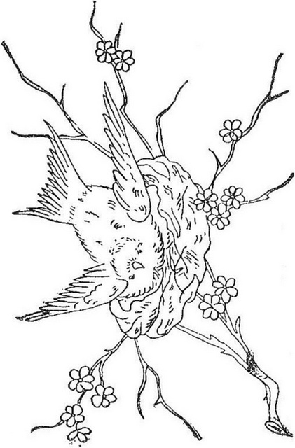 Bird and Nest - embroidery pattern