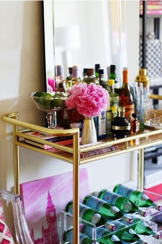 Styled bar cart
