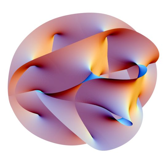 Theoretical physics. In superstring theory, the extra dimensions of spacetime are sometimes conjectured to take the form of a 6-dimensional Calabi-Yau manifold.