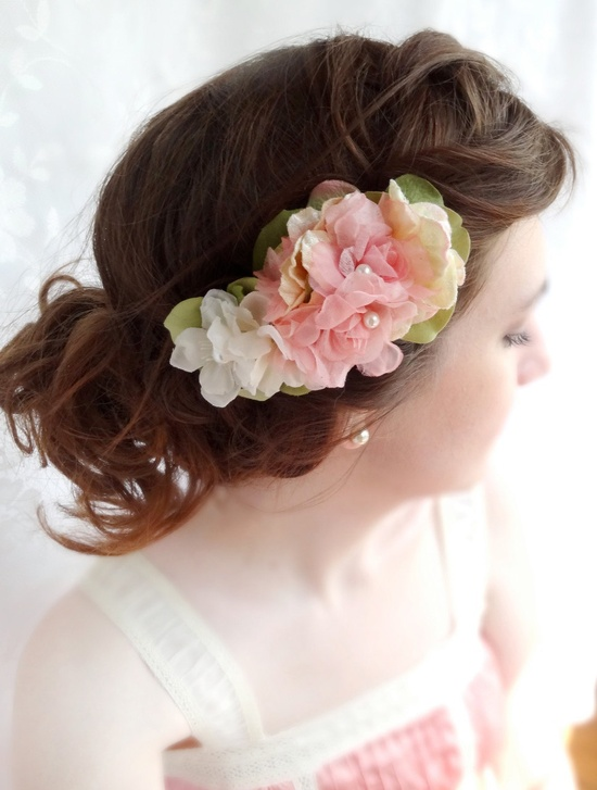 pink floral hair clip - BELLE - a bridal flower, hair accessory, headpiece, pearls. $62.00, via Etsy.
