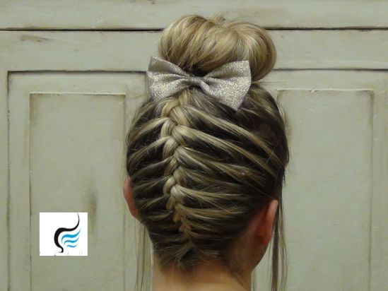 French Braid Sock Bun Girls Hairstyle