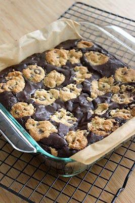 Cookie brownies... uh yeah!  #recipe #dessert #chocolate