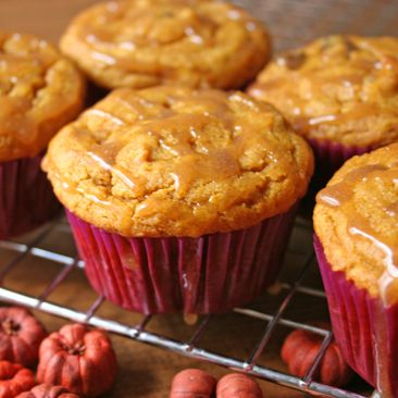 Gluten-Free, Pumpkin Chocolate Chip Cupcakes With Cinnamon.