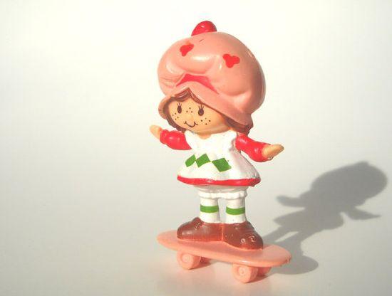 Strawberry Shortcake Mini 80s Toy on Skateboard by ManateesToyBox, $3.85