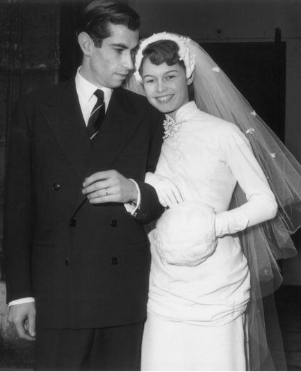 Brigitte Bardot smiling on her wedding day to French film director Roger Vadim (1928 - 2000) at the Church of Passy, France. #celebrity #wedding
