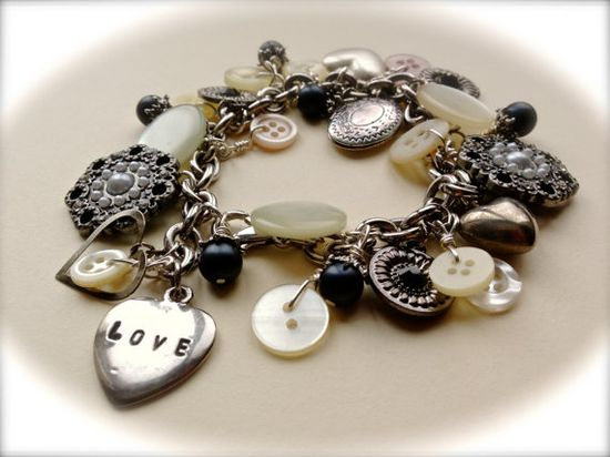 Vintage Love of Antique Buttons Charm Bracelet  by MissionJewels, $48.00
