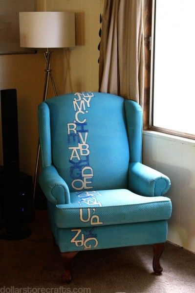 Amazing typography chair redo by @Heather Mann. She used Simply Spray Upholstery Fabric Paint in Caribbean Blue.