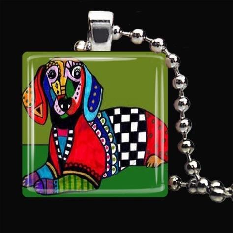 DACHSHUND Jewelry Dog Charm Pendant Necklace by HeatherGallerArt, $28.00