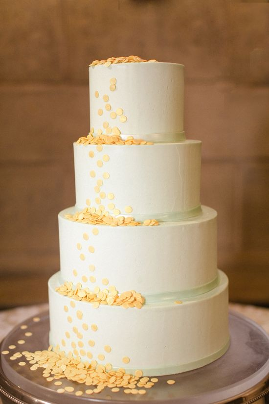 white, mint and yellow wedding cake by Sugaree Baking Company www.weddingchicks...