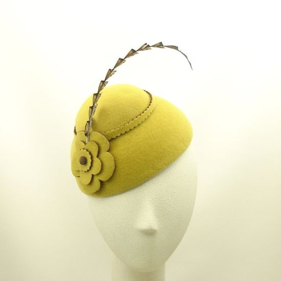 Yellow cocktail hat $235                                  Yellow Cocktail Hat for Women Vintage Style Cloche Hat Mustard Yellow Hat w Fabulous Feathers