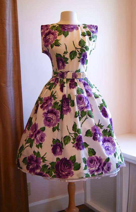 1950's Dress // Vintage 50s Purple Rose Garden Party Dress on Etsy, $198.00