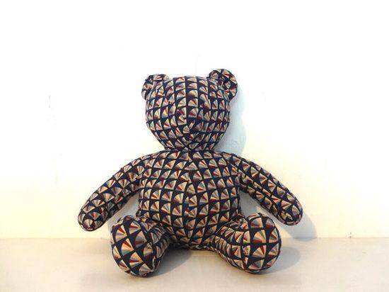 vintage stuffed animal bear in geometic print