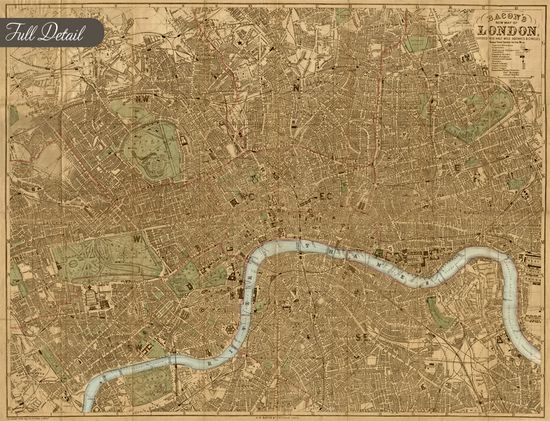 Bacon's London - Maps for interior design and Decor