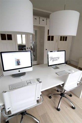 white minimalist home office workspaces