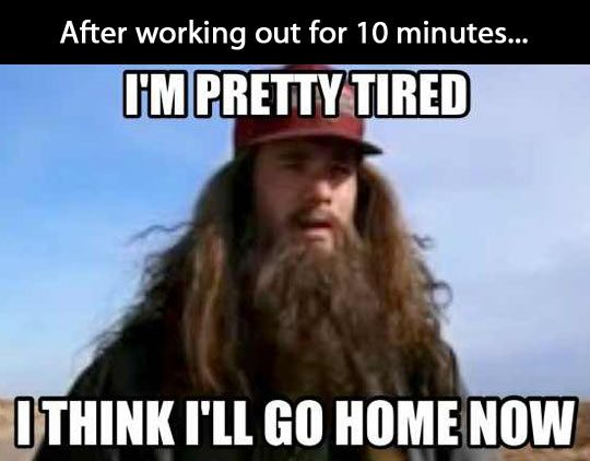 After working out for 10 minutes.