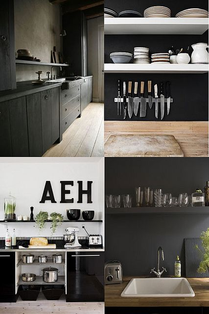 black kitchens by the style files, via Flickr