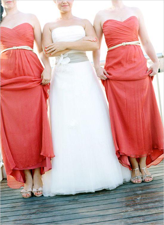 bridesmaids in belts