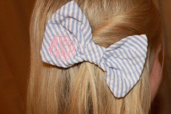Bow Tie Style Monogram Seersucker Hair Bow by devonalana on Etsy, $12.00