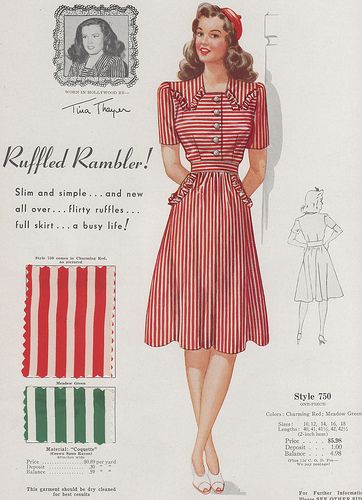 Delightful 1940s candy cane worthy stripes. #vintage #dresses #fashion #1940s #fabric #illustrations