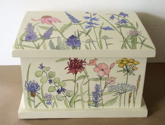 Painted Furniture Nature Boxes Herbs Botanical by BetweenTheWeeds,