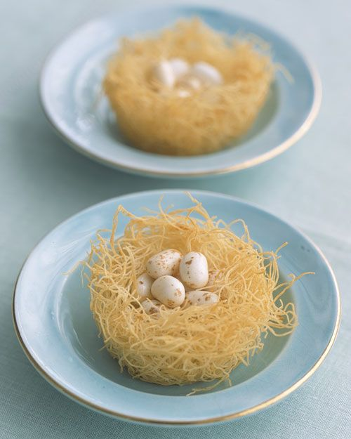 Edible bird's nest from pre-shredded phyllo that has been tossed with melted butter and cinnamon sugar.  Baked in muffin tins until golden brown.  Topped with either chocolate or jelly bean eggs!  Fun.