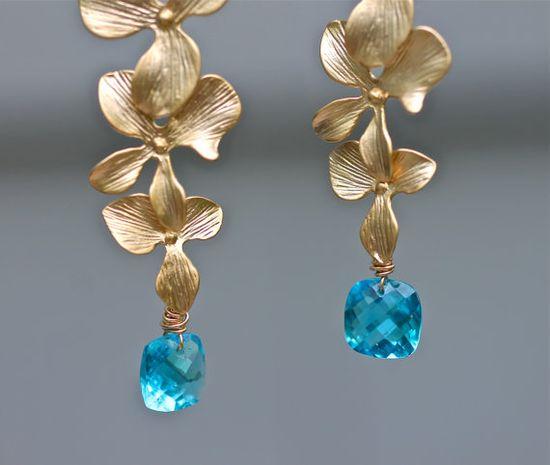 Blue Topaz Earrings Gold Hydrangea Earring Drops Amy by amyfine