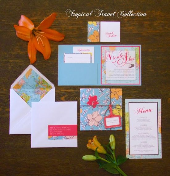 The new Tropical Travel Collection of Wedding Stationery from knotsandkisses.co.uk