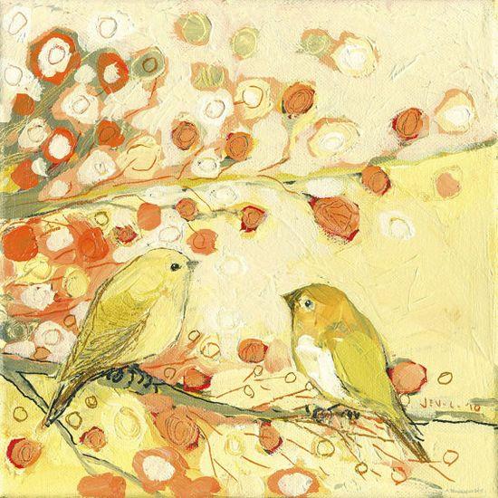 A Little Bird Conversation 10 x 10 inch Bamboo Fine by jenlo262, $35.00